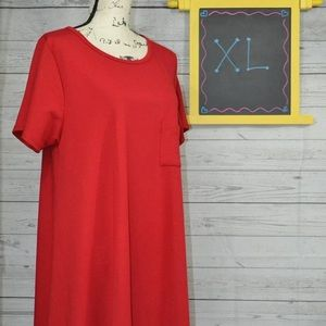 LuLaRoe Carly Dress Solid Red